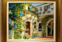 Spanish Fine Art - Paintings of courtyards and gardens / Check out our catalog of courtyard and garden paintings. In our online art gallery we sell oil paintings and pieces of art at the best price. We specialize in Spanish artists.