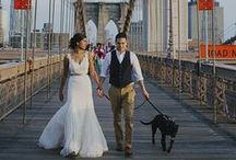 """A Brooklyn Bridge Wedding: Meghan & Peter / Congratulations Meghan & Peter! While Meghan and Peter celebrated their love with a traditional Indian Wedding Memorial Day Weekend, their hearts truly longed for a Brooklyn ceremony and what better way than with a lovely ceremony on the Brooklyn Bridge AT SUNRISE! Meghan fell in love with Michelle New York Brides' """"Sasha"""" gown for this breathtaking day!"""