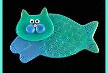cat & fish pottery