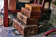 Suitcases and vintage boxes