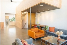 Noe Valley Residence, San Francisco, CA / This home was built new from the ground up. We reclaimed materials from the site, breathing new life into them for modern cabinetry, countertops and the key element of the design, the stair 'wall of life' that rises through the center of the house. Environmental choices included eco-sourced framing, efficient solar thermal and greywater systems, a PV array, and radiant floors. Architect: Boor Bridges Architecture  -  AT6 Architecture. Photography: Stephanie Jaeger