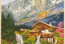 Paisagens com montanhas.