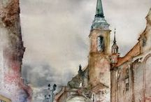 Watercolor cityscapes and architectural details