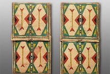 Parfleche - Original Abstract Paintings / These are parfleche, they were used as storage cases by the nomadic Plains tribes.
