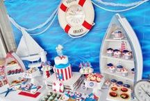 Baby Shower Ahoy Nautical Theme / Ahoy Nautical Baby shower Ideas, Ahoy Nautical Party cake ideas, Ahot Nautical dessert table, Ahoy Nautical Party decorations and supplies, Invitations and Favors for a memorable Nautical baby shower party, games, FREE party printables @ www.babyshowerideas4U.com