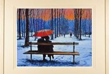 Romantic Paintings / Paintings and limited edition prints of romantic couples, umbrellas, lovers.