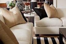 Black, tan, white decor