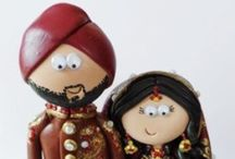 Handmade Indian/Asian/Pakistani Bride & Groom Wedding Cake Toppers / Indian/Asian/Pakistani themed Bride & Groom wedding cake toppers I've made for previous customers. I can make your outfits, jewellery, flowers etc as they will look on your wedding day. I ship worldwide. www.googlygifts.co.uk