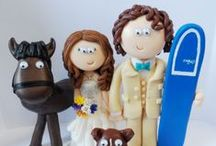 Bride & Groom with Family & pets handmade Wedding Cake Toppers