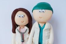 Personalised wedding cake toppers to show jobs and hobbies / Unique, handmade wedding cake toppers that look like you on your wedding day. They can be dressed in any outfits to show jobs or hobbies for no extra charge.