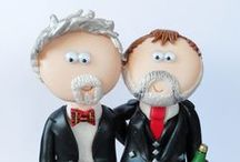 LGBT Civil partnership Gay & Lesbian wedding cake toppers / Personalised, handmade LGBT Civil partnership gay/Lesbian wedding cake toppers to celebrate your big day, any outfits/poses are possible www.googlygifts.co.uk I ship World wide.