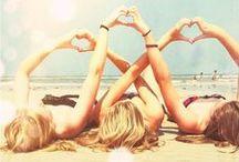 Summer Love /  Beach. Girls. Friends. Fun. Waves. Tan. Good Times. Memories
