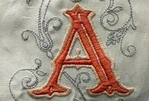 Monograms and Fine Embroidery / Whitework embroidery, redwork, cross-stitch monogrammed antique, vintage and contemporary linens. French, Italian, English, American, grain sack, cotton, on bedding, napkins, nightgowns and other clothing.