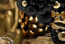 BLCK N GLD / black and gold jane dessa // collages, montages, design, art, graphics