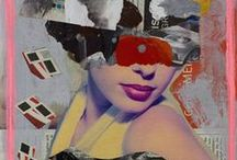 Diva Thinking / Veil Portrait - Diva Thinking  painting/collage on newspaper, paperplaining