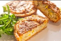 KaakOushé - QUICHE selection / Savory, fluffy and rich with flavor.  There are four different fillings to choose from and each quiche comes with a side order of rocket salad.