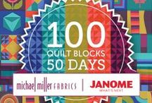 100 Quilt Blocks in 50 Days / Enjoy creating this colorful and unique quilt yourself with 10 Michael Miller Cotton Couture fabrics. The 100 quilt blocks were designed by Janome fans from 40 states and 5 countries. Every weekday from October 19th  - December 25th we will release two new blocks with complete instructions. Sign up to receive an email every morning with two new blocks.