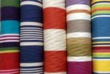 Water Repellent Fabrics / This striped water repellent fabric is perfect for tablecloths, mats and runners as it is wipeable on one side and soft on the other. Sewable but may be cut to size without sewing as it does not fray.