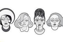 B&W Divas - Greta Garbo Marlene Dietrich Audrey Hepburn Gloria Swanson / By Mattia Bau Vegni   Charme and beauty eternally engraved in the Divas' faces of black and white movies  Vector portrait, art pint. Greta Garbo, Marlene Dietrich, Audrey Hepburn, Gloria Swanson.