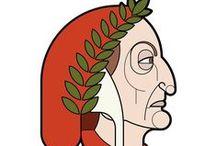 Dante's Profile Portraits / Art Print by Mattia Bau Vegni Dante Alighieri Divina Commedia Vector Profile Portait