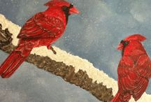 Birds / Cardinals in Meeting - original acrylic 12 x 16, not framed, painting of two cardinals looking at each other on a snow covered log - Sold