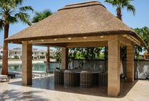 CR: Gazebos / Chiringuitos / Majlis / A collection of thatched roof coverings for various applications, such as pool bars, massage huts, daybeds, jacuzzis, spas and many more!