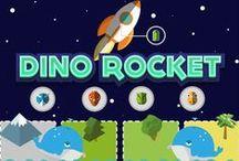 ROCKET DINO / ROCKET DINO est une jeu de société réalisé avec 4 camarades Héticien lors de la dernière semaine intensive de notre première année.  VOTRE MISSION  Une météorite va bientôt s'abattre sur votre île. Incarnez un dinosaure et récolter le carburant pour votre fusée nécessaire pour vous envoler puis remporter la partie.