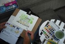 Watercolor courses for adults / watercolor courses given in artists studios by professionnal art teachers
