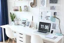// art studio / decor and storage ideas for a small artist's studio or small business office