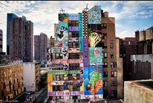 FAILE Mural / Hell's Kitchen's most recent neighborhood addition is an executed work by Colossal for artist collaborative FAILE. The mural spans eight stories on one side of the building that used to house New York's iconic Record Plant. It pays homage to the building's history in FAILE's signature aesthetic, sectioned and stacked in something of a Jenga-style mashup of depictions. / by Colossal Media