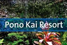 """Pono Kai Resort - Kapaa, Hawaii / Situated on the beach, the Pono Kai is on the eastern coast of Kauai, where the average annual temperature is 70 degrees. Relax by the resort's outdoor pool or on the beach. You'll also find volleyball, tennis, shuffleboard, and bicycles on site, as well as croquet. For more action, head offshore and try surfing, snorkeling, boating or fishing. Kauai is called the """"Garden Isle"""" because of its natural beauty. Take Helicopter tours over the lovely beaches and scenic viewpoints."""