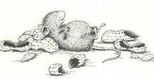 Classic House-Mouse / Ellen Jareckie and I started House-Mouse Designs way, way, way back in 1980 and these are some of our very first designs. They were in black and white as we couldn't afford to print them in color.  Barry Percy