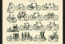 Dopravní prostředky, kola, auta, lokomotivy, letadla / Historické dopravní prostředky, první kola a automobily, lokomotivy a letadla na krásných kresbých starý mnohdy více jak 100 let