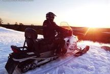 Snowmobiling in Santa Claus Village and surroundings / The surroundings of Santa Claus Village and Rovaniemi area in Lapland is a paradis for snowmobiling. There several companies in Santa Claus Village organizing snowmobile safaris and excursions and children snowmobiling.