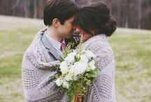 Fall Wedding / Warm Knit Blankets - Caramel Apples - Pumpkins
