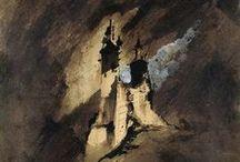 """Victor Hugo, plasticien / """"On voyait dans les cieux, avec leurs larges ombres, Monter comme des caps ces édifices sombres, Immense entassement de ténèbres voilé ! Le ciel à l'horizon scintillait étoilé, Et, sous les mille arceaux du vaste promontoire, Brillait comme à travers une dentelle noire.""""  """"Le Feu du ciel"""", Les Orientales, VII"""