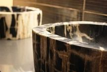 Petrified wood sinks / Beautiful sinks, made from petrified wood, gemstone and riverstone
