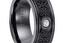 Black Rings with Diamonds / These rings are made from either Titanium,  Tungsten, or Zirconium metals.