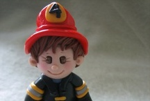 Fireman, / Fire engine cakes