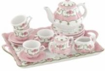 Children's Tea Sets / Little girls will always love tea parties.  Children's tea sets in porcelain are featured here, some with carrying baskets, some with matching trays, but all in adorable patterns that children love...