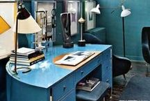 Splash of Color / A little color can go a long way when designing your home office. #colorfuloffices