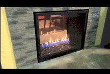 """HD Series Gas Fireplaces / Napoleon's HD series gas fireplaces are available in three sizes:  35"""", 40"""", and 46"""".  Traditional log burner is standard, but can be upgraded to a modern River Rock on fire glass burner.  Can also be installed with optional decorative doors.  If you're looking for a see-through unit you may want to consider the HD81 or the HD4. / by Fireplace Warehouse ETC"""