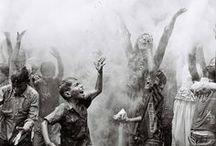 """HOLI FEST / """"Holi"""" es una celebración india.Se hacen grandes fogatas por la noche.Al quemar el pasado, te preparas para un nuevo comienzo.La vida se vuelve una celebración.Tus emociones, como el fuego, te queman. Pero cuando las conviertes en fuente de colores, le agregan encanto a tu vida. Eleva el espíritu con la alegría de los colores. Conoce la esencia del festival y disfruta del día con sabiduría.  / by Eugenia Saenz"""