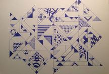 Eigen werk blauw blauw / Tekenen met fineliner