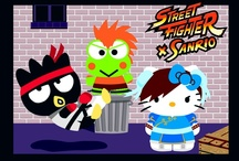 Street Fighter x Sanrio / Hello Kitty lives in the suburbs of London with her parents and her twin sister  Mimmy. She has lots of friends at school with whom she shares many adventures. Her trademark is her red bow that she always wears over her left ear.  Hello Kitty is as heavy as three apples and as tall as five apples.