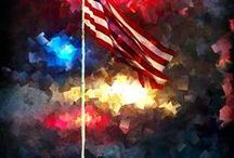 RED, WHITE & BLUE / GOD BLESS AMERICA / by greencateyes