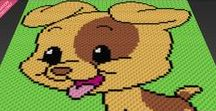 Animal Characters Inspired Graphs by Two Magic Pixels (c2c, sc, tss, hdc, dc) / Beautiful graphs that you can use for crochet, knit, cross stitch, plastic canvas, latch hook, hama beads.