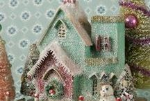 tiny glittered houses