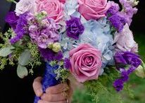 Norton's Weddings - Lavender/Purple/Blue / Wedding flowers with hydrangea, roses, lisianthus, stock and statice in shades of blue, lavender and purple. Bridal bouquet, bridesmaid bouquet, centerpieces, altar flowers. #WeDeliverTheWow.