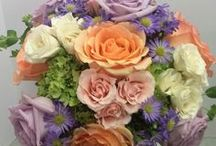 Norton's Weddings - Lavender, peach, ivory / Bridal and bridesmaids bouquets in lavender peach and ivory.